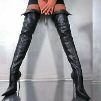 Women's Pointy Toe Over The Knee Boots Stilettos High Heels Stage Evening Shoes