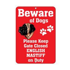 ENGLISH MASTIFF DOG Beware of Fun Novelty METAL Sign