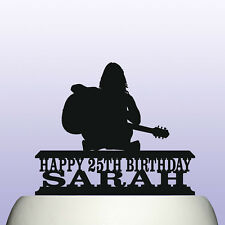 Personalised Acrylic Female Guitar Player Birthday Cake Topper Decoration