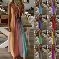 Plus Size Ladies Summer V-Neck Maxi Dress Ladies Beach Casual Loose Boho Dress *