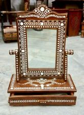 Rosewood Indian Inlaid Dressing Mirror With Drawer