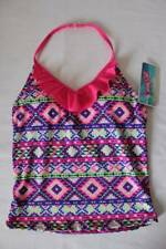 NEW Girls Tankini Top Swimsuit Large 10 - 12 Pink Purple Halter Top Bathing Suit