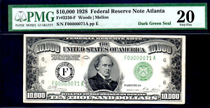 FR 2230-F $10,000 1928 GRADED PMG 20 TWO DIGIT LOW #71 FEDERAL RESERVE NOTE