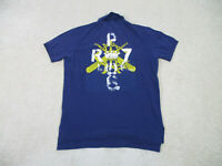Ralph Lauren Polo Shirt Adult Large Blue Yellow Crest Rugby Casual Mens 90s A37*