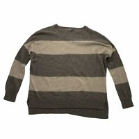 Vince Sweater Womens XS Rugby Stripe Taupe Cream Yak Wool Dolman Sleeve