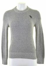 ABERCROMBIE & FITCH Womens Crew Neck Jumper Sweater Size 10 Small Grey  KC06