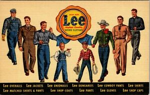 ROE EMERSON NEWARK OHIO LEE CLOTHES JEANS OVERALLS ADVERTISING LINEN POSTCARD