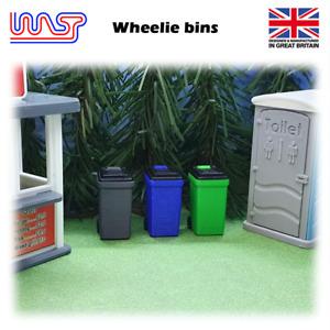 WASP 3D printed wheelie bin 3 pack, recycling, scenery, slot, slot track 1/32