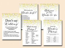 Print Yourself Gold Confetti Bridal Shower Game Pack Printable bs46 A