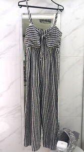 Dotti Jumpsuit Size 12 Grey White Stripes