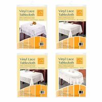 Vinyl Lace Tablecloth Table Cover White Square Round Oval Rectangle Embossed