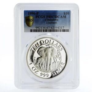 Zimbabwe 10 dollars Wildlife Landmarks Elephant PR67 PCGS silver coin 1996