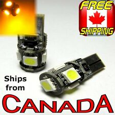 "2x CANBUS Yellow/Amber LED Bulbs - 5x5050 chips - T10 194, ""Error Free"""
