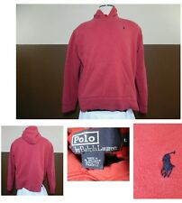 VTG POLO by Ralph Lauren PULL-OVER HOODIE SWEATSHIRT Front Pouch Pocket Red L