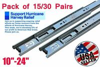 """15/30 Pairs Ball Bearing Full Extension Drawer Glides/Slides 10""""~24"""" Heavy Duty"""