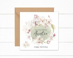 Personalised Auntie Birthday Card Green Floral Watercolour Special Aunt Sister