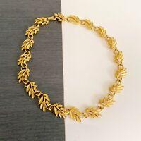 "Vintage Napier Leaf Necklace Choker Gold Tone Textured Fall 16.5"" Autumn Fashion"
