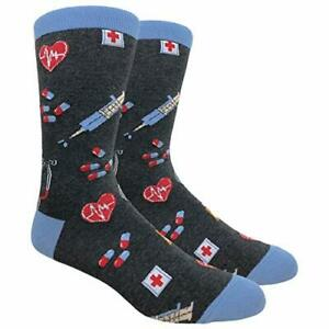 Novelty Fun Crew Print Socks for Dress or Casual (Dr. Medicine Grey #91A)