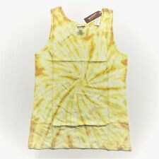 Men's Arizona Tank Top Sleeveless Shirt - Yellow Spiral Tie Dye