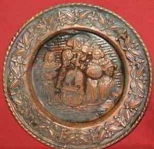 Antique Art Deco Floral Musicians Copper Wall Hanging Plate