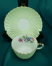 3 Aynsley Green Swirl & Floral Bouquet Tea Cup & Saucer Sets