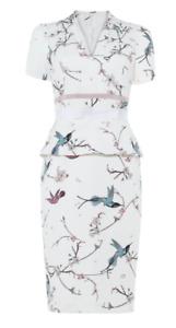 BNWOT Damsel in a dress by Phase Eight Japanese Bird Print Dress UK 16