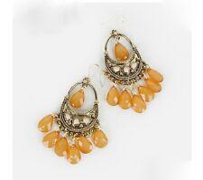 Bohemian Style Alloy Plastic Beads Water-Drop Dangle Chandelier  Earrings