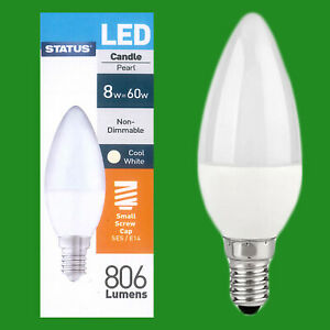 10x 8W(=60W) Pearl Candle Energy Saver LED SES E14 Light Bulb Lamp 4000K
