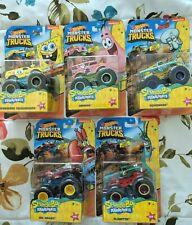 2020 Hot Wheels Monster Trucks Sponge Bob Squarepants Set Of 5 FREE SHIP IN BOX