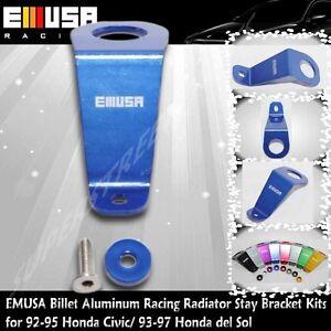 EMUSA Billet Aluminum RacingRadiator Stay Bracket Kit fit 92-95 Honda Civic Blue