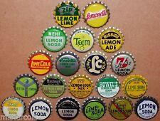 Vintage soda pop bottle caps LEMON and LIME FLAVORS Lot of 20 different unused