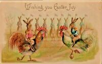 Antique Postcard Easter Fantasy Colonel Rabbits Bunny Military Roosters c. 1903