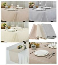 STONE COLLECTION TEXTURED FABRIC TABLECLOTH, PLACEMATS, NAPKIN, RUNNER, 3 COLORS
