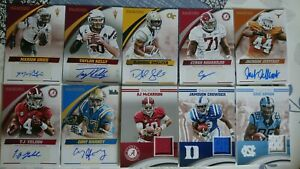 Lot Football Panini Collegiate autograph and enclosed player worn cards