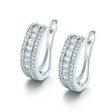 Luxury Stunning Silver White Gold Filled Huggies Diamond Gemstone Women Earrings