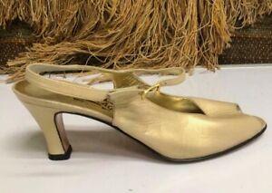 Salvatore Ferragamo Gold Patent Leather Open Toe Sling Back Shoe Pump 8.5 AAAA