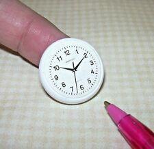 Miniature Kitchen Wall Clock, WHITE: DOLLHOUSE Miniatures 1/12 Scale