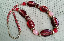 """CATO Gold Tone Faceted Red & Pink Plastic Beads with Ribbon 25"""" - 28"""" Necklace"""