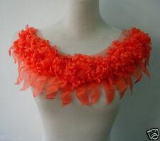Fn133-2 Frayed Shabby Daisy Flower Chiffon Applique Orange ~Neck~Collar~Fashion