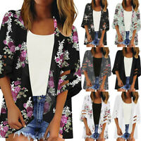 Women Panel 3/4 Bell Sleeve Floral Chiffon Casual Loose Summer Kimono Cardigan