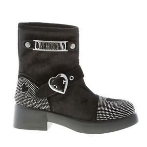 LOVE MOSCHINO women shoes Black velvet Urban ankle boot silver metal microstuds