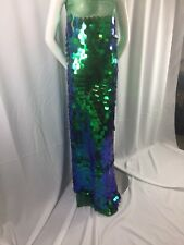 """Fantastic Hologram Big dot sequin mesh fabric 54"""" Green pearl. Sold by the yard."""