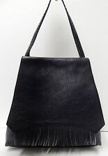 Cole Haan Black Pebbled Leather Fringe Shoulder Bag