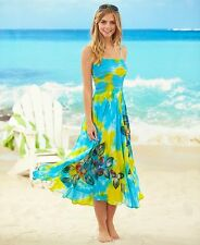 Womens Tropical Smocked Long Dress Turquoise Large 14/16 Sequins Summer Clothing
