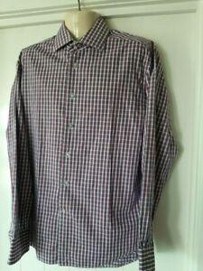 Mens Boston Brothers Shirt, Plaid / Check, Size 43, Cotton, Long Sleeves