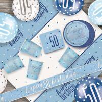 Blue Glitz 50th Birthday Party Supplies Decorations (Confetti Strings Napkins)