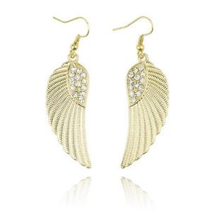Rhinestone Dangle Angel Wing Hook Earrings - UK Stock