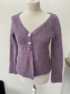Per Una Lilac Purple Alpaca Wool Blend Carigan Chunky Button Size Medium