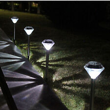 1pcs LED Color Changing Solar Diamond Stake Lights Garden Lawn Pathway Lamp MO White
