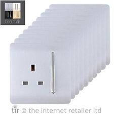 Trendi 1gang artístico moderno Brillante 13AMP conmutada Plug Socket Plata Pack De 10